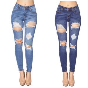 Denim - Butt Lifting Destroyed Skinny Jeans
